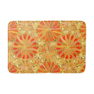 Tribal Mandala Print, Mustard Gold and Orange Bath Mat