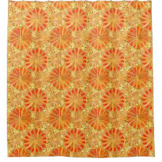 Tribal Mandala Print, Mustard Gold and Orange Shower Curtain