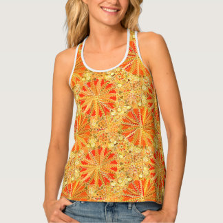 Tribal Mandala Print, Mustard Gold and Orange Singlet