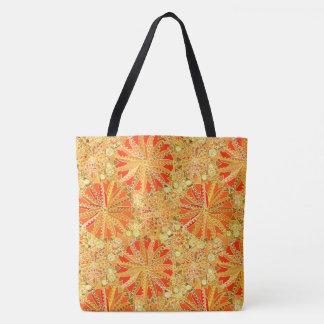 Tribal Mandala Print, Mustard Gold and Orange Tote Bag
