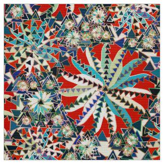 Tribal Mandala Print, Red, Blue and Cream Fabric
