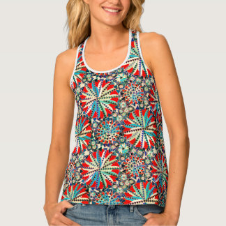 Tribal Mandala Print, Red, Blue and Cream Singlet
