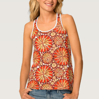 Tribal Mandala Print, Rust Orange and Brown Singlet