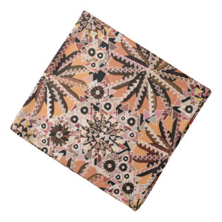 Tribal Mandala Print, Taupe Tan and Beige Bandana