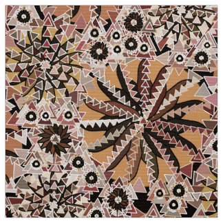 Tribal Mandala Print, Taupe Tan and Beige Fabric