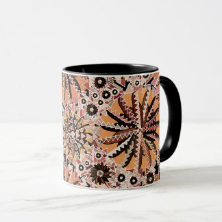 Tribal Mandala Print, Taupe Tan and Beige Mug
