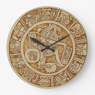 Tribal Maya Warrior Round Wall Clock - Aztec Clock