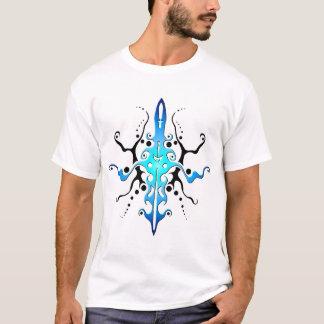 Tribal Mayan God Tattoo blue and black T-Shirt