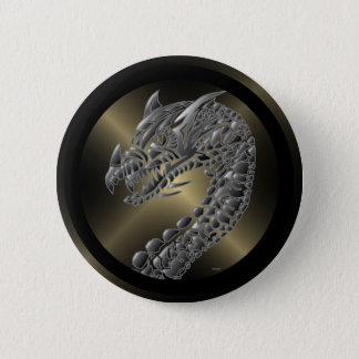 Tribal Metallic Dragon 6 Cm Round Badge