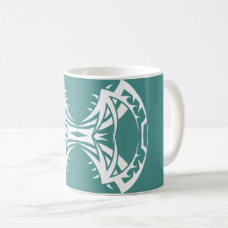 Tribal mug 14 single white to over blue