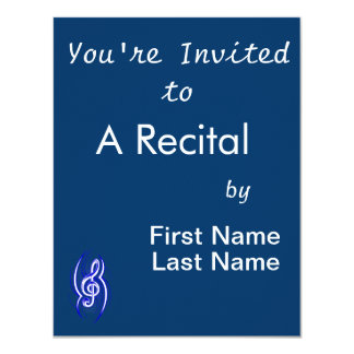 tribal music clef blue.png 4.25x5.5 paper invitation card