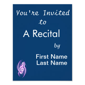 """tribal music clef pink.png 4.25"""" x 5.5"""" invitation card"""