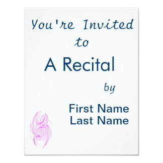 "tribal music clef pink.png 4.25"" x 5.5"" invitation card"