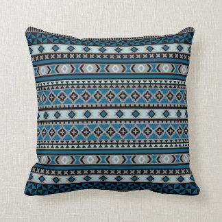 Tribal Navajo Blanket Pattern Blue Grey Black Cushion