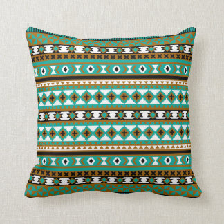 Tribal Navajo Blanket Pattern Green and Brown Cushion