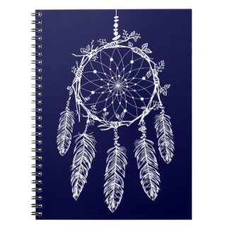 Tribal Navy Blue Native American Dream Catcher Notebook