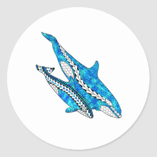 Tribal Orca Whales Round Sticker