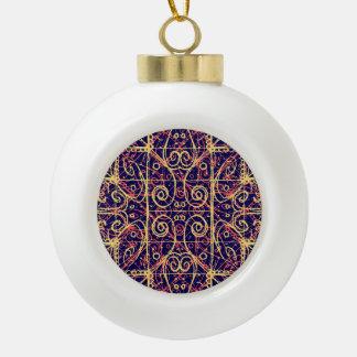 Tribal Ornate Pattern Ceramic Ball Christmas Ornament