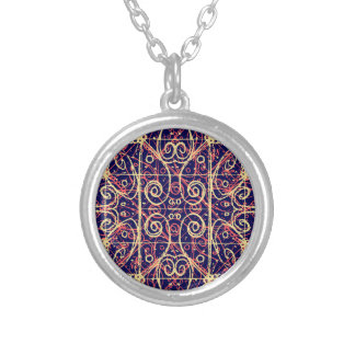 Tribal Ornate Pattern Silver Plated Necklace