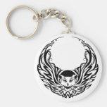 Tribal Owl Basic Round Button Key Ring