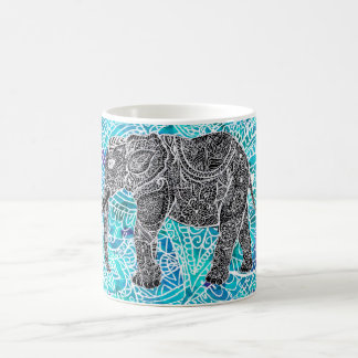 Tribal paisley boho elephant blue turquoise coffee mug