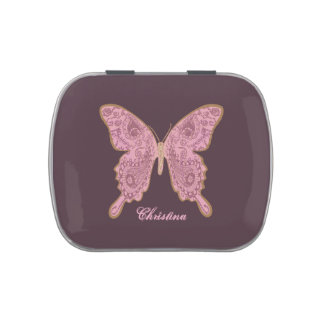 TRIBAL PAISLEY BUTTERFLY pink tin Jelly Belly Candy Tins