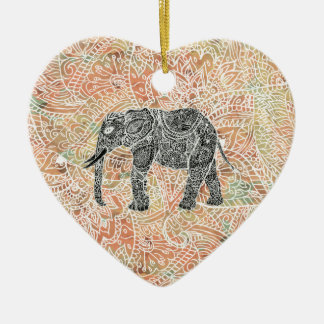 Tribal Paisley Elephant Colorful Henna Pattern Ceramic Heart Decoration