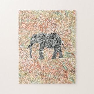 Tribal Paisley Elephant Colorful Henna Pattern Jigsaw Puzzle
