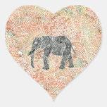 Tribal Paisley Elephant Colourful Henna Pattern Heart Sticker