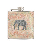 Tribal Paisley Elephant Colourful Henna Pattern Hip Flask