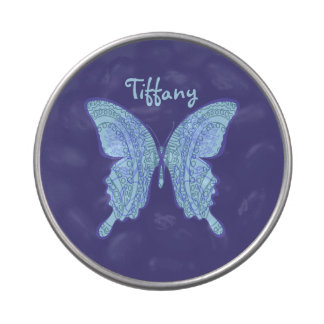 TRIBAL PAISLEY FLORAL BUTTERFLY BLUE PEEK-A-BOO JELLY BELLY TINS