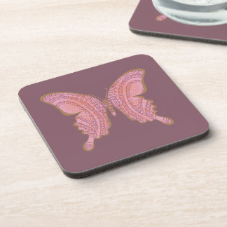 Tribal Paisley Floral Butterfly rose cork back Drink Coaster