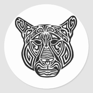 Tribal Panther Classic Round Sticker