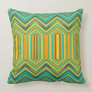 Tribal Pattern Blue Gold Square Throw Throw Pillow
