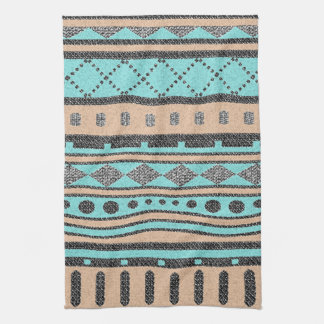 Tribal Pattern Peach And Turquoise Tea Towel