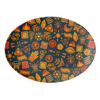 Tribal Pattern Porcelain Serving Platter