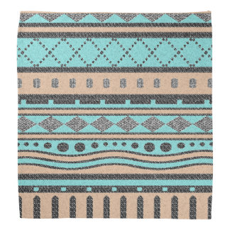 Tribal Peach And Turquoise Aztec Pattern Bandana