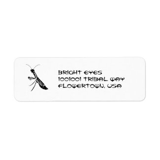 Tribal praying mantis address label
