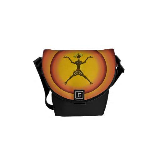 Tribal Primitive Man Glowing Sun Design Courier Bag