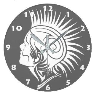 TRIBAL PUNK DESIGN (BLACK AND WHITE) Wall Clock