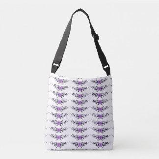 tribal purple butterflies pattern tote bag