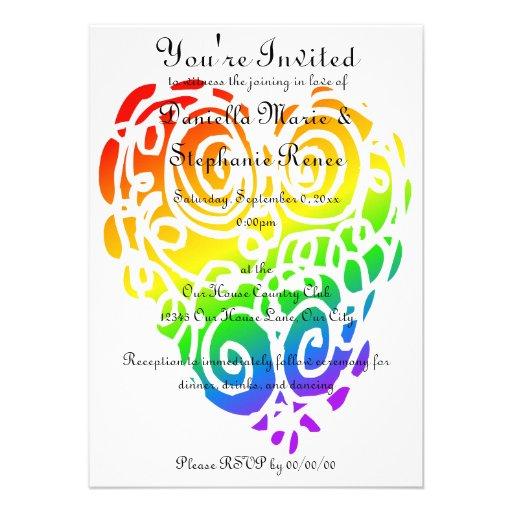 Tribal Rainbow Hearts Invitation