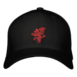 tribal red dragon embroidered hats