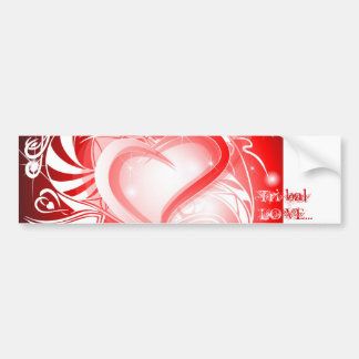 Tribal red Heart wishing card Car Bumper Sticker