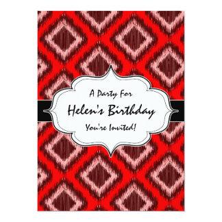 Tribal Red Ikat Modern Chic Pattern 14 Cm X 19 Cm Invitation Card