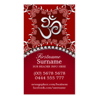 Tribal Red Silver Om Reiki Yoga Business Cards
