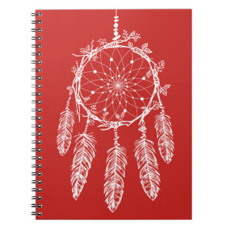 Tribal Red & White Native American Dream Catcher Notebook
