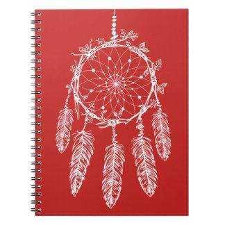 Tribal Red & White Native American Dream Catcher Spiral Notebook