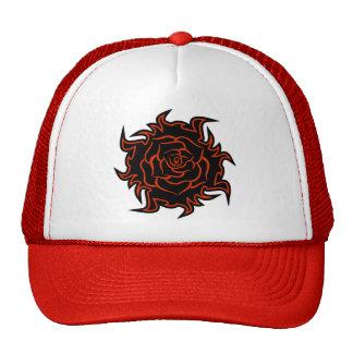 Tribal Rose in Black and Orange Hat