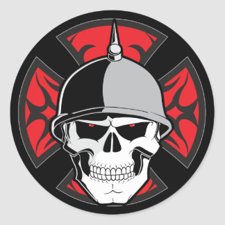 Tribal Round Cross Skull Round Stickers